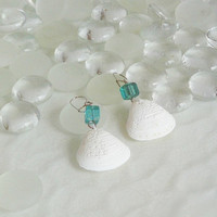 Seashell Earrings with Turquoise Glass Cube/Summertime/Beach/Ocean