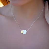 Disc silver necklace, double disc necklace, sterling silver and gold vermeil, mixed metal necklace, bridesmaid necklace, &quot;Electra&quot;