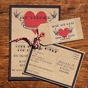 Vintage Tatoo Wedding Stationery