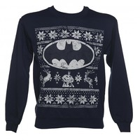 Unisex Dark Blue Marl DC Comics Batman Fair Isle Christmas Sweater : TruffleShuffle.com