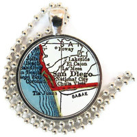 San Diego, California vintage map pendant charm, necklace charm, photo pendant