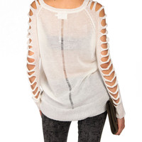 Cut Up Sleeve Knit Sweater by Lush - 2020AVE