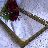 Beautiful Gold Filigree Mirror Vanity Tray