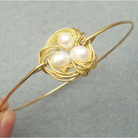 Nest and Pearl Brass Bangle Bracelet