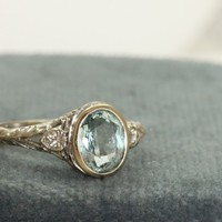 Estate 18K Jabel 2 CT Aqua and Diamond Filigree Ring