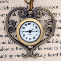 Spinning Heart Clock Necklace