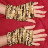Wrist Warmers, Fingerless Driving Gloves  Beige to Brown Rainbow