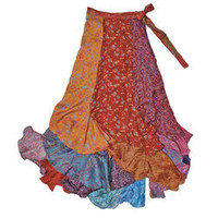 Silk Blend Long Patchwork Sari Wrap Skirt (India) | Overstock.com