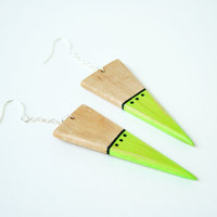 Hand-Painted Wooden Triangle Dangle Earrings in Neon Green and Maple