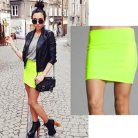 HypoxicAndLost - Handmade - NEON YELLOW Mini High Waist Pencil Skirt