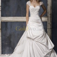 [US$236.99] Fabulous A-line Sweetheart Cap Sleeves Sweep Satin Wedding Gown