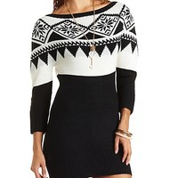 Off-the-Shoulder Fair Isle Sweater Dress - Black Combo