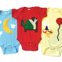 Goodnight Moon Baby Bodysuit Collection: Handmade Felt Appliqued Onesuits