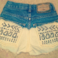 SALE Made To Order-Tribal Print High Waisted Shorts