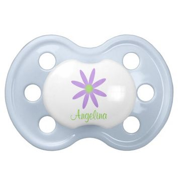 Personalized: Purple Daisy Pacifier