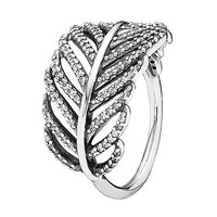 Pandora Light as a Feather Ring in 925 Sterling Silver with Clear Cubic Zirconia 7 3/4 (US), 190886CZ-56 (EUR)