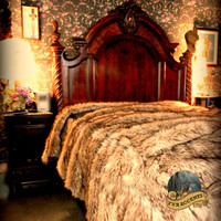 Bedspread, Throw Blanket / Timber Wolf / Comforter /  Coyote / Faux Fur / Bear Skin Luxury Bedding / You Choose The Size You Need