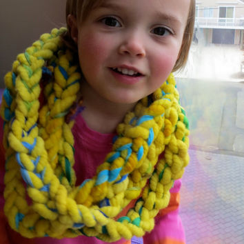 Sale Chunky Warm Infinity Scarf Link in Yellow Wool and Gossamer