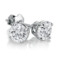 IGI Certified 14K White Gold Round Diamond Stud Earrings (1cttw ) with Screw Backs