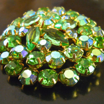 Green Juliana D&E Brooch, Peridot Rhinestones, ABs, Vintage Round Domed