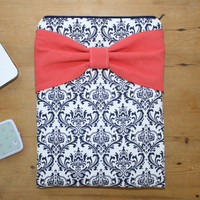 MacBook Pro or Air Case / Stylish Laptop Sleeve - Navy and White Damask with Coral Bow - Double Padded - Sized to Fit Any Brand