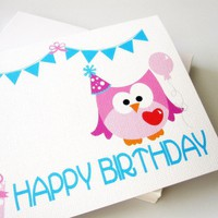Owl Birthday Card , Pink Owl Birthd.. on Luulla