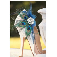 Wedding Peacock Feather Shoe Clips, Navy & Rhinestone Engagement Accessory, Date Night Out Party, Best Seller Bridal Gift. Paon Pfau Plume