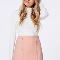 Missguided - Beth Felt Zip Front A-Line Skirt Baby Pink