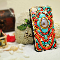 Custom unique handmade vintage bohemia style iPhone 4 case , iPhone 4s case, cool iPhone 4 case hard Case Cover