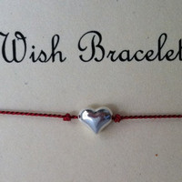 Sterling Silver Heart Wish Bracelet, Friendship Bracelet, Charm Bracelet