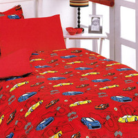 Custom Twin Size Dark Blue, Red Racing Cars Printed  Kid Bedding Set For Boys