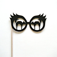 Photo booth prop black cat glasses on a stick halloween