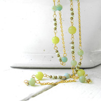 Long Beaded Necklace - Gold, Green, and Blue - Lemon Jade Necklace - Amazonite Necklace - Opera Length Necklace - BOHEME Collection