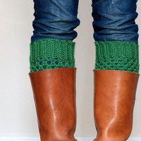 Crochet Boot Cuffs in Emerald Green - Boot toppers, Boot socks