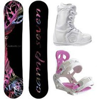 Camp Seven Featherlite 2012 Women`s Snowboard Package with Flow Vega Lace Boots and Siren Leaf...