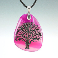 Tree of Life - Engraved Stone Pendant - Pink Dyed Agate