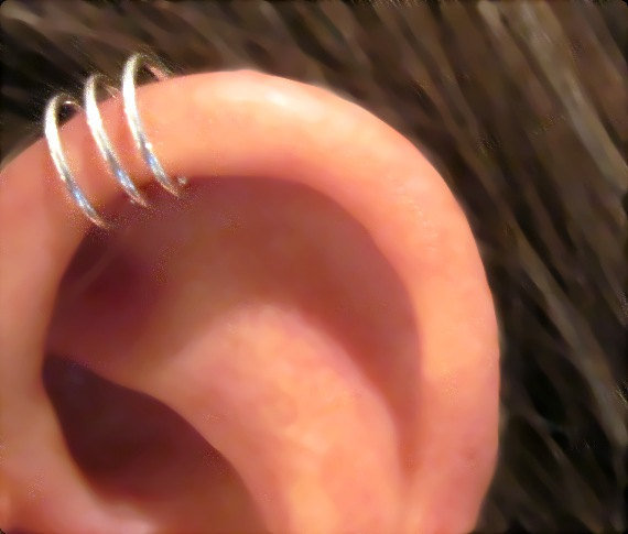"SALE 3 for Price of 2 No Piercing Sterling Silver  Handmade Helix Cuff Ear Cuff ""Triple Loops"""
