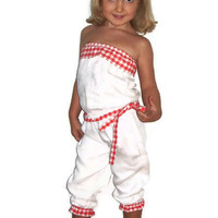 Toddler Girls Romper, Girls cotton romper, red and white,Toddler girls bodysuit, OOAK
