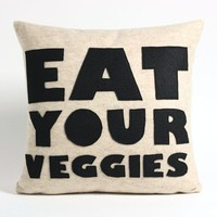 EAT YOUR VEGGIES oatmeal and black recycled by alexandraferguson