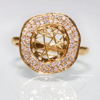 Diamond Sphere 18K Gold Ring.