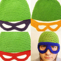Teenage Mutant Ninja Turtle inspired Hat and Mask, 2 Piece Set