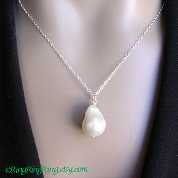 Extra Large Baroque Natural White Freshwater  Pearl on 925 Sterling silver necklace.