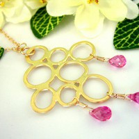 Gold bubble hot pink quartz necklace