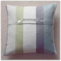 "Cushion cover John lewis Puritan stripe in duck egg with button fastening 35cm (14"")"