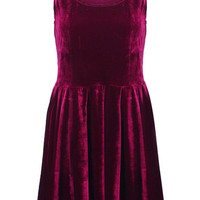 Velvet Wine Red Shift Dress [NCSKD0320] - $43.70 :
