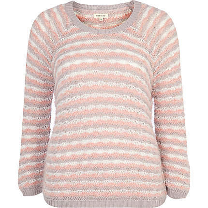 pink stripe fluffy jumper