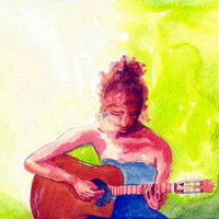 Guitarist 8x10 Watercolor Painting Print