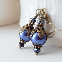 Bridesmaid Jewelry Midnight Blue Earrings Pearl Dangles Antiqued Bronze Vintage Style Dark Blue Wedding Jewelry Bridesmaid Earring Sets