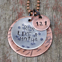 Run Like a Motha Pendant in Nickel with Distance Charm and Accent Disc in Copper for Runners
