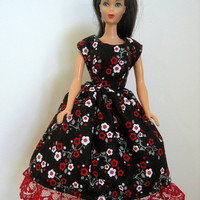 Barbie Doll Dress - Black With Red & White Flowers